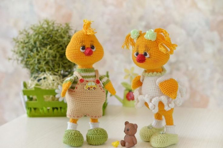 Two Easter chick crochet and a little brown bear.