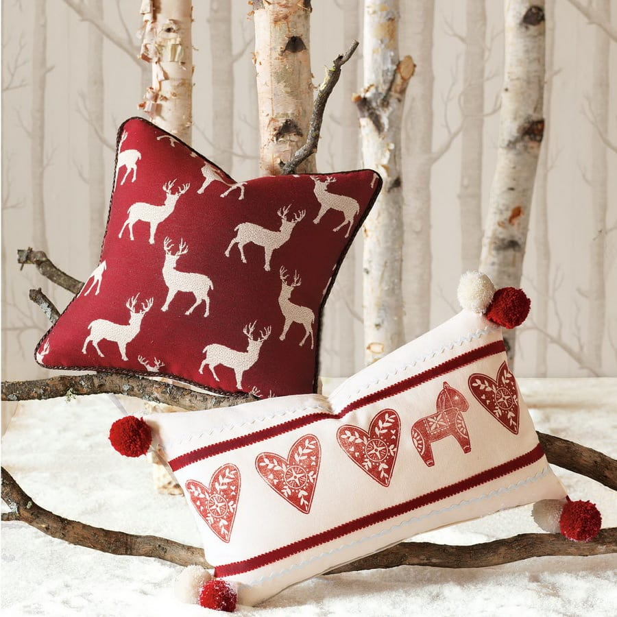 Christmas Extravaganza Red and White Pillow