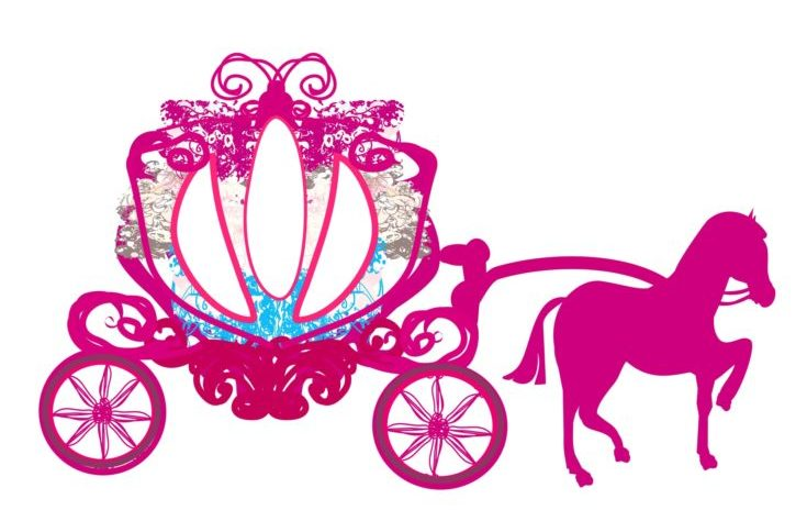 Cinderella's iconic carriage - doodle icon isolated in white background