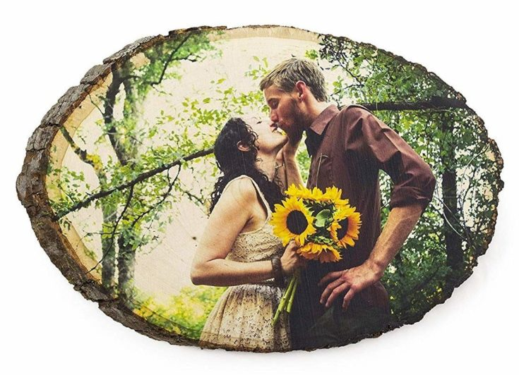 Couple's photograph ink printed to wooden bark disc.