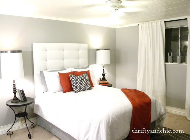 Thrifty and Chic clean square buttoned white headboard