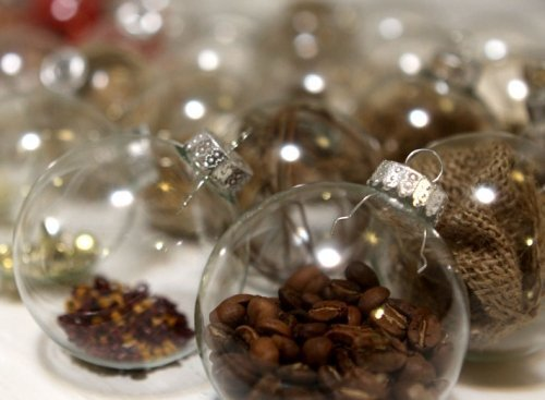 Coffee beans inside glass ball ornaments