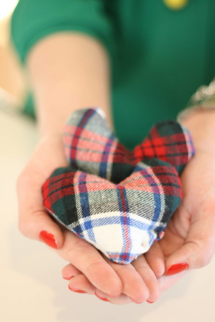 Selective focus of a DIY Flannel Hand Warmers