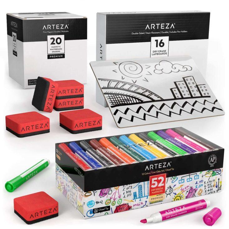 Arteza Dry Erase Markers + Arteza Magnetic Whiteboard Erasers + Arteza Dry Erase Lapboards