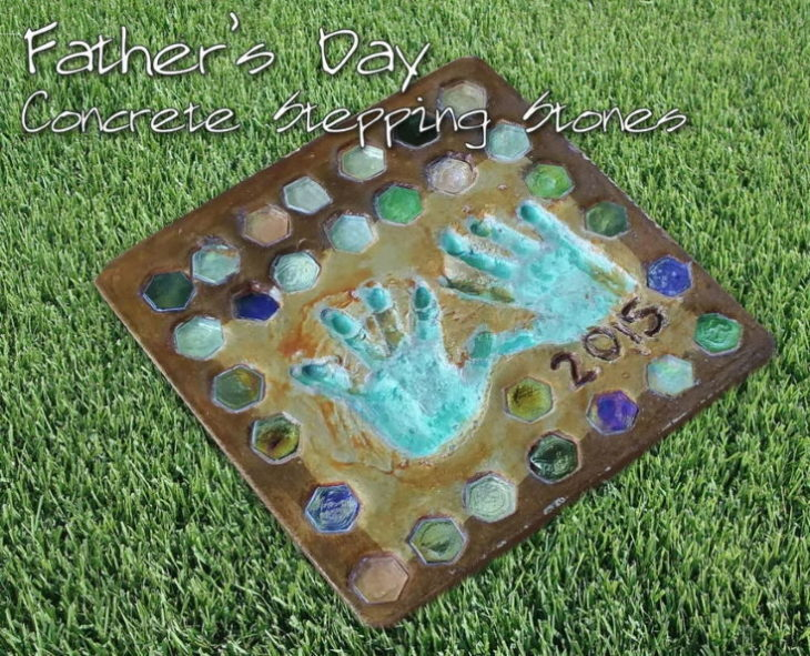 Father's Day Concrete Stepping Stones in grass background
