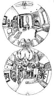Example of curvilinear perspective lay out drawn on white paper.