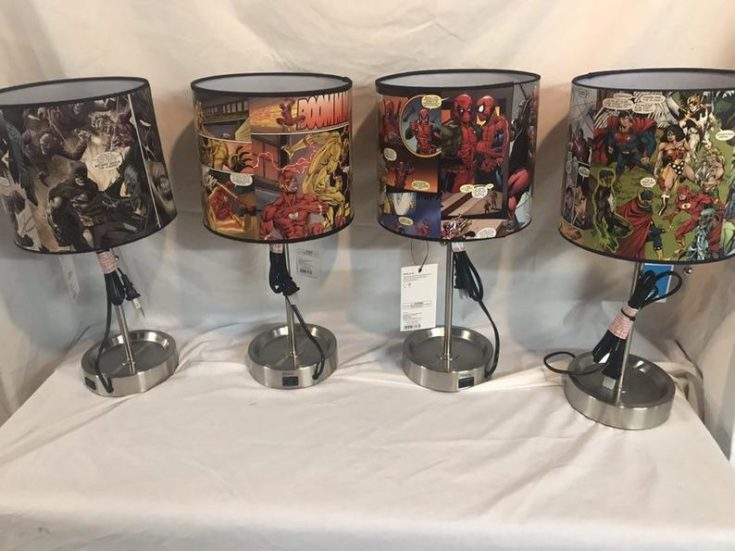 Custom Decoupage Comic Book Table Lamp