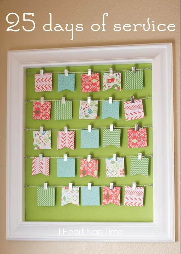DIY 25 Days of Service Advent Calendar colorful cards string and framed
