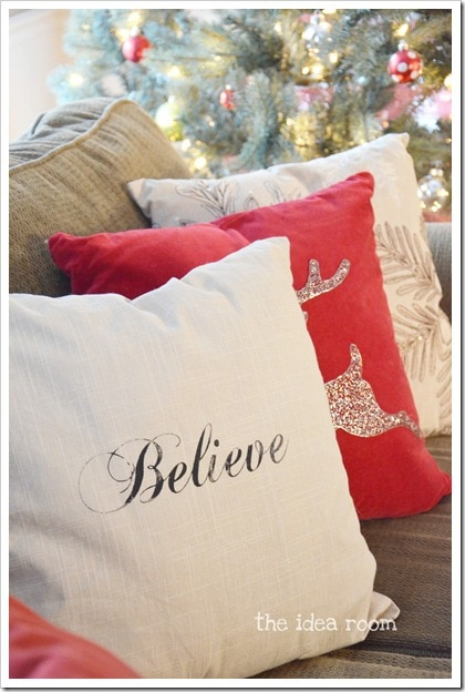 The Idea Room Believe Christmas Pillow