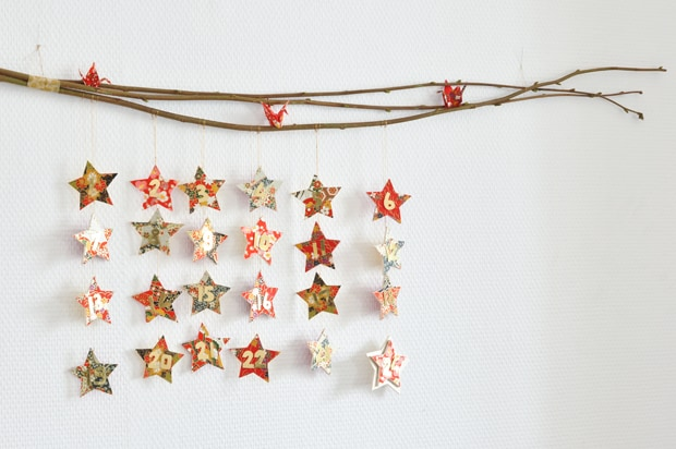 DIY branch mobile stars Christmas advent calendar