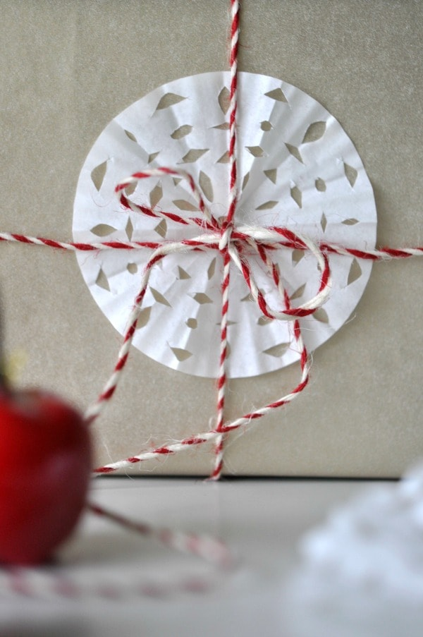 Candy Apple Gift Wrapping Paper with red and white string