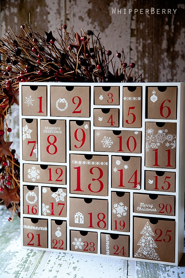 DIY Chirstmas cardbox drawers with big red numbers written on the box