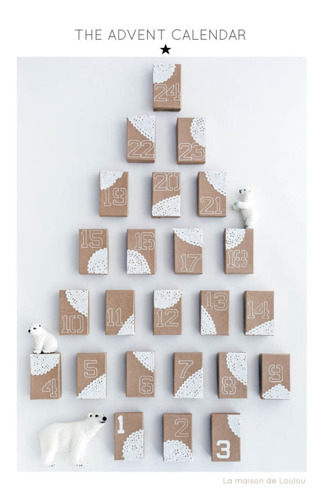 Rectangular brown boxes with white cloth stick on white walls with polar bears