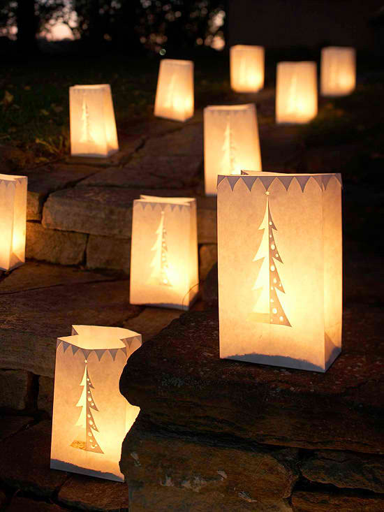 Christmas Tree on paper bags luminaries