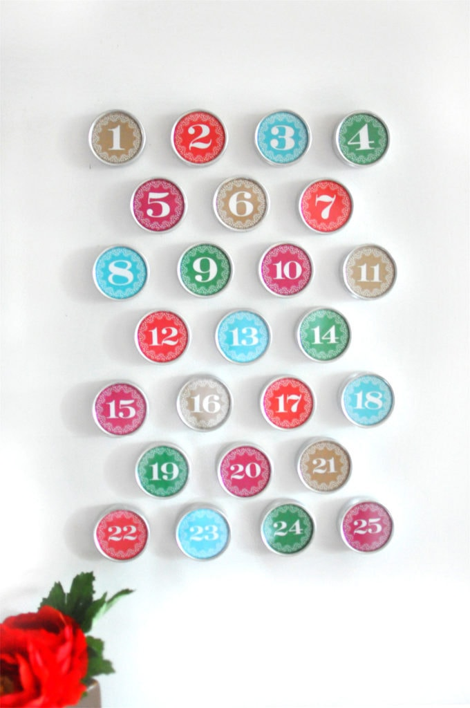 Colorful printed circle numbers stuck on white wall with red flower in the foreground