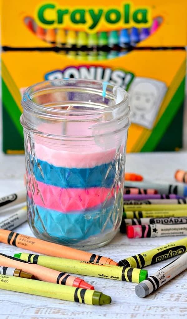 DIY Crayon Candle on a jar.