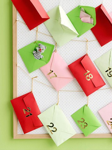 DIY Colorful Envelops with Gold Foil Numbers in Front Hang in Wood Frame