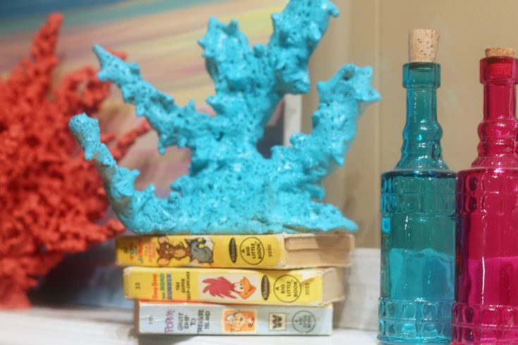 DIY Faux Coral placed on a pile of books