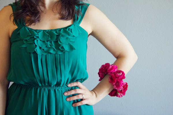 Woman wearing a DIY Floral Bangle.
