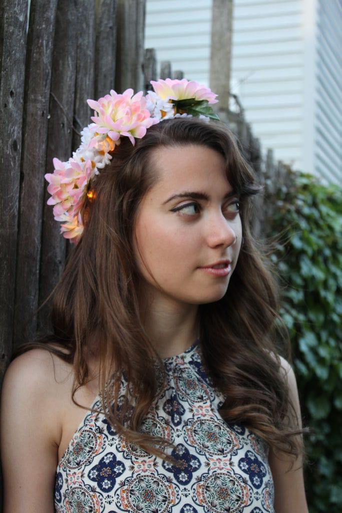 a pretty woman wearing DIY Flower Crown