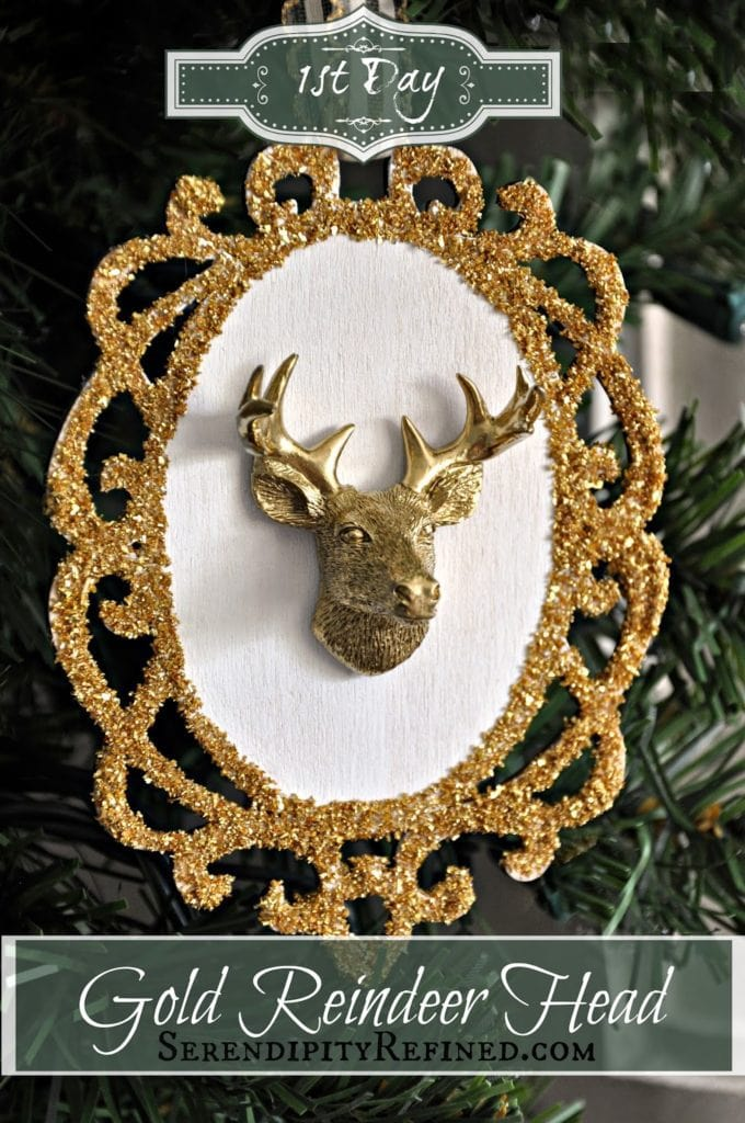 Ist Day is Written on the Gold Reindeer Head Hanging on a Christmas Tree