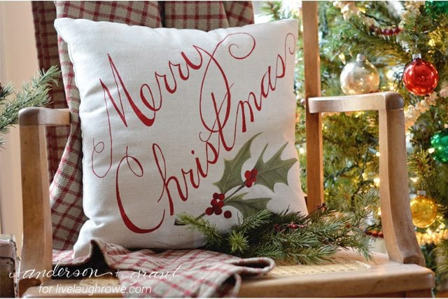Anderson Grant Live Laugh Rowe Merry Christmas Pillow