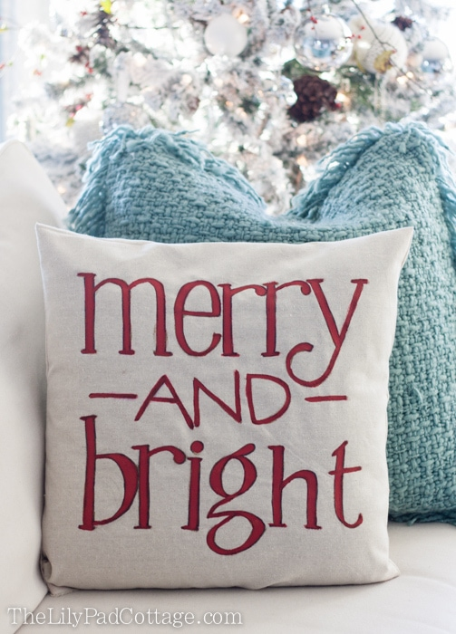 The Lily Pad Cottage Merry and Bright Christmas Pillow
