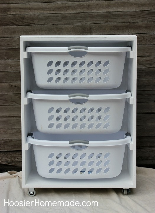 Hoosier Homemade Mobile Laundry Basket Dresser with 3 Layers of white baskets