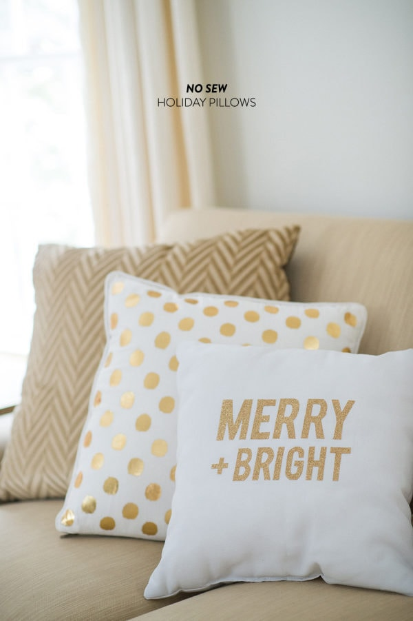 Now Sew Holiday Pillows with Merry + Bright printed in gold and white compbination