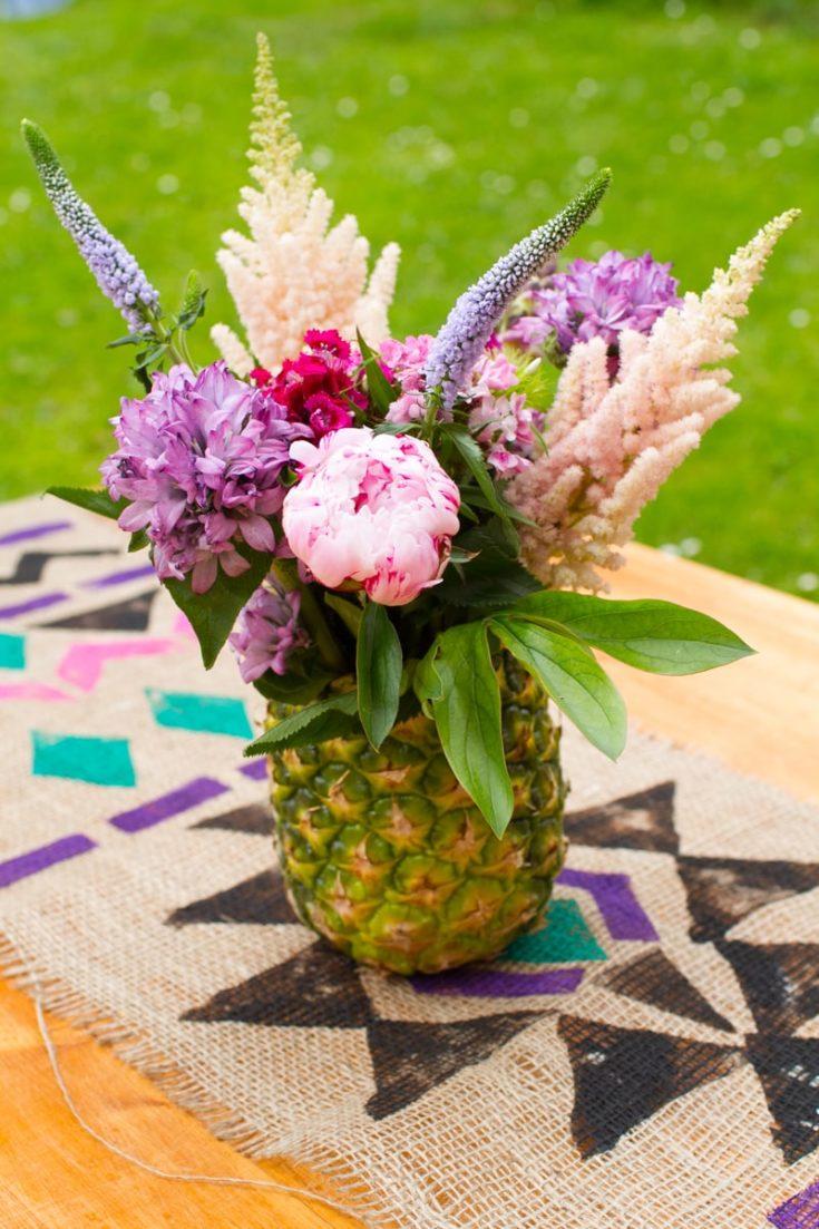 DIY Pineapple Flower Vase - floral arrangement