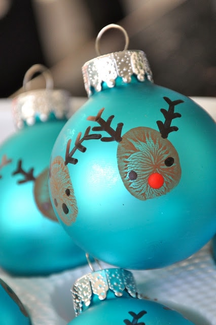 Reindeer Drawn in a Blue Ball Ornament