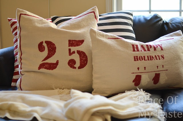 Place Of My Taste Old School Sack Cloth Christmas Pillow