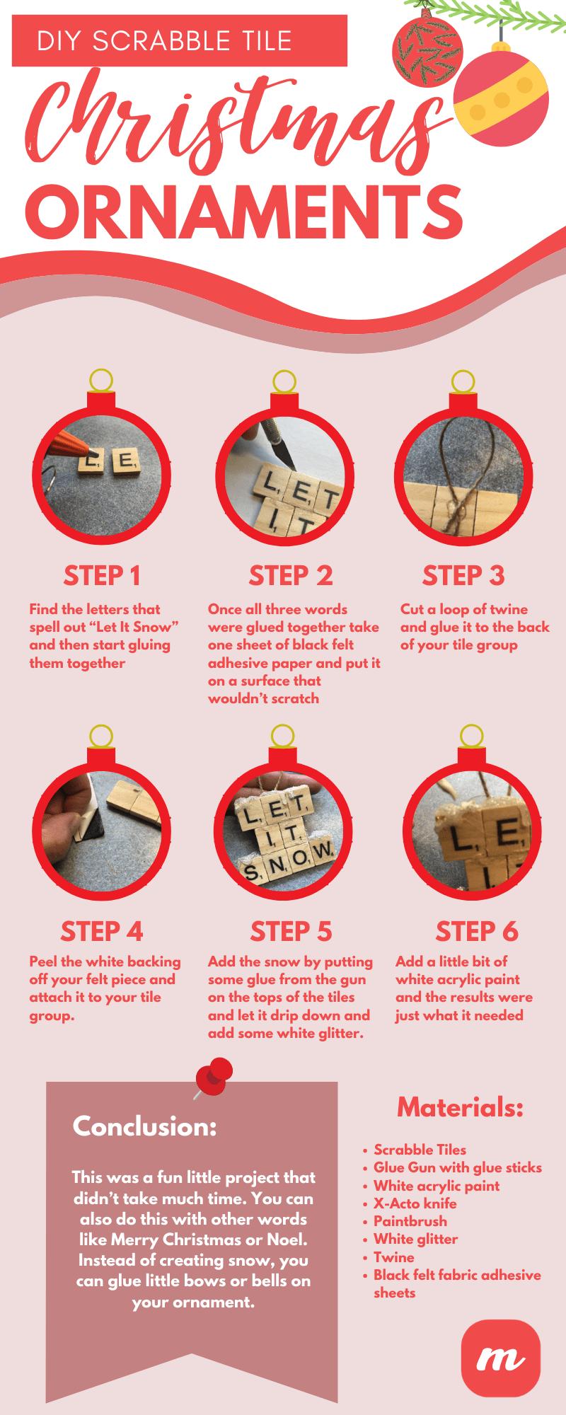 DIY Scrabble Tile Christmas Ornaments - Infographic