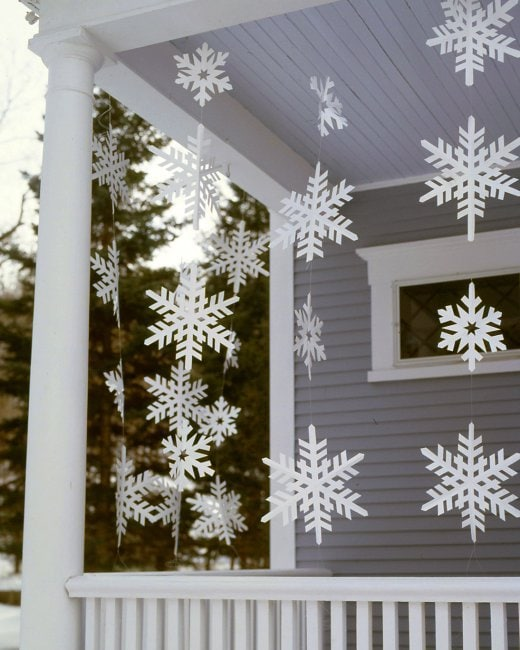 DIY Snowflakes hanging on porch