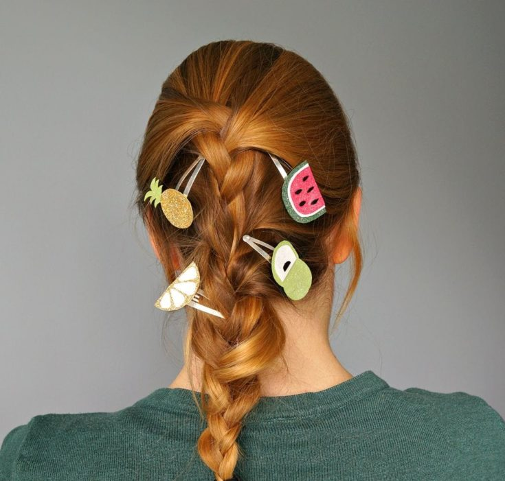 a woman's hair with DIY Summer Fruit Hair Clips
