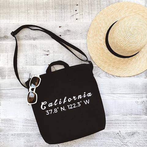 DIY Tote Personalize Your Favorite City Coordinates with white sunglasses and a summer hat