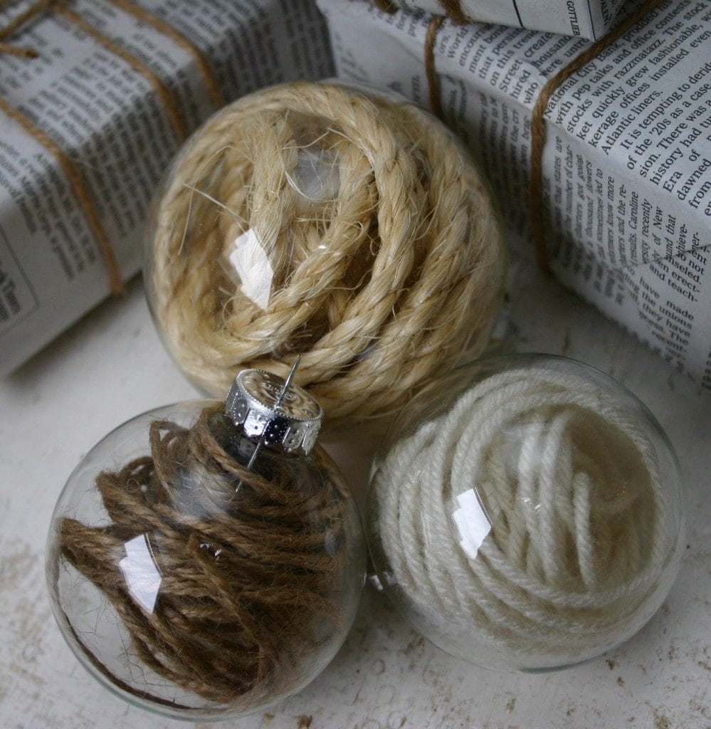 Clear Glass Ball Filled with Twine