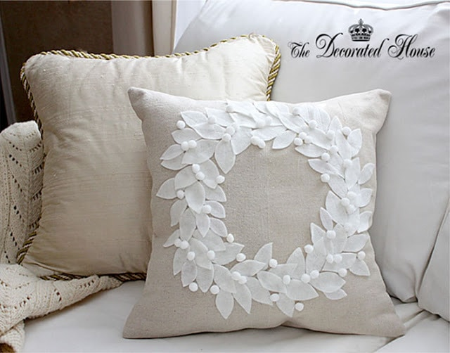 The Decorated House White Ponsetia Pillow