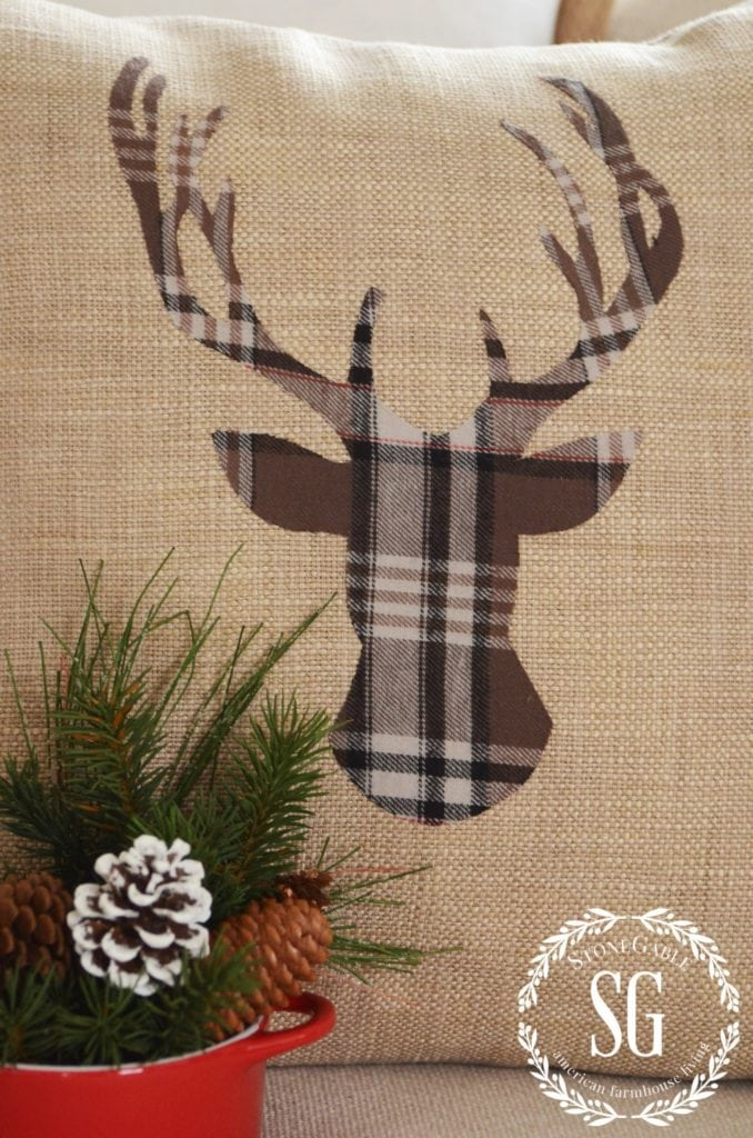 Stone Gable Woodland Plaid Deer Pillow