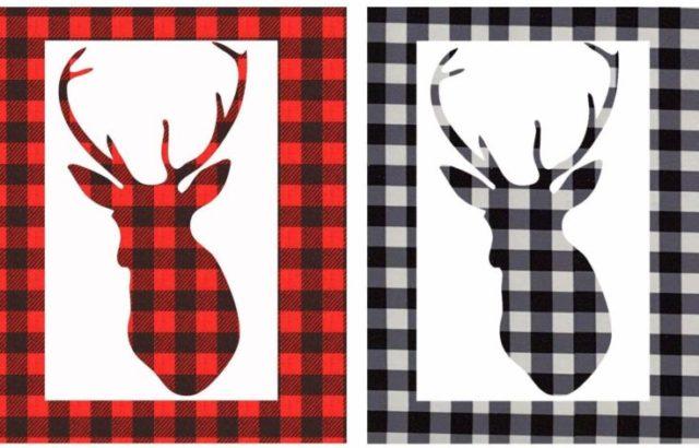 "Delokey 2 Sheet 12""x12"" Buffalo Plaid Heat Transfer Vinyl - Printed Vinyl Sheets Adhesive Cloth Fabric for Shirt, DIY Craft"