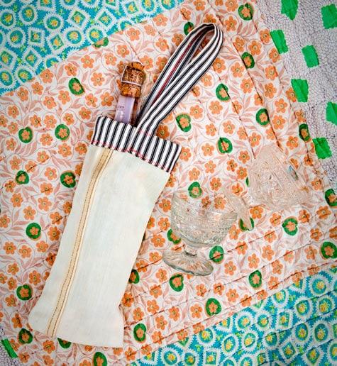 Denim Cutoffs Wine Bag with 2 wine glass