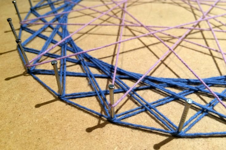 Geometric String Art close up. details