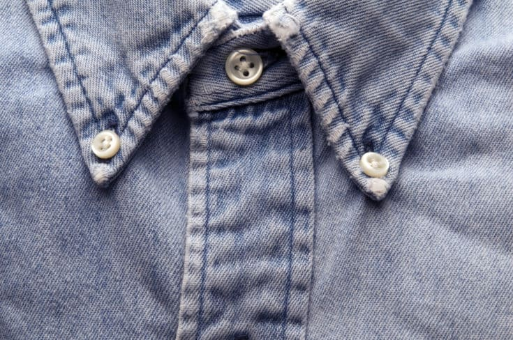 denim shirt old classic worn and frayed detail