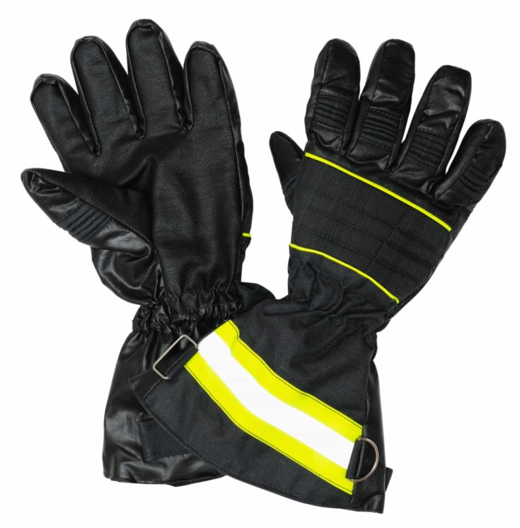 Protective gloves for firefighters. Inside and outside of gloves . Isolated on white background
