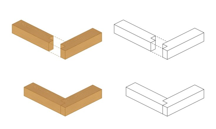 Type of wood joint set Rabbet style, perspective 3d with top front side and back view isolated on white background