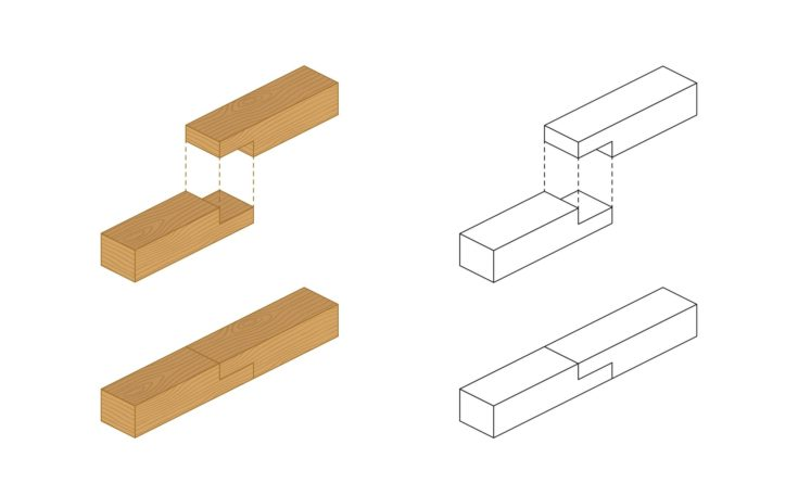 Type of wood joint set Half Lap style, perspective 3d with top front side and back view isolated on white background