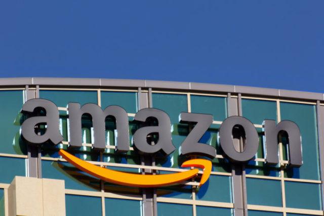 SANTA CLARA,CA/USA - FEBRUARY 1, 2014: Amazon building in Santa Clara, California. Amazon is an American international electronic commerce company. It is the world's largest online retailer.