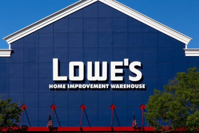 GILROY, CA/USA - MAY 26, 2014: Lowe's Home Improvement Warehouse exterior. Lowe's is an American chain of retail home improvement stores in the United States, Canada, and Mexico.