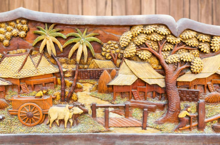 Close up weathered old and dirty Thai culture wood carved
