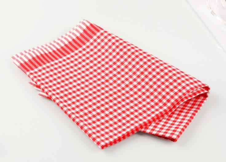 Red and white checkered tea towel - studio